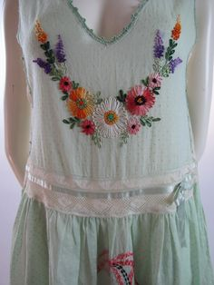 1920's Hand Embroidered Deco Dotted Swiss Boudoir Flapper Lingerie Frock