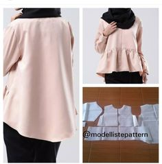 Blouse pattern with front zipper and peplum side Order by line : (with Side Orders, Mode Hijab, Sewing Patterns, Sewing Ideas, Peplum, Zipper, Blouse, Unique, Womens Fashion