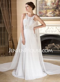 Wedding Dresses - $166.19 - A-Line/Princess Scoop Neck Watteau Train Chiffon Wedding Dress With Ruffle Beadwork (002012135) http://jenjenhouse.com/A-Line-Princess-Scoop-Neck-Watteau-Train-Chiffon-Wedding-Dress-With-Ruffle-Beadwork-002012135-g12135