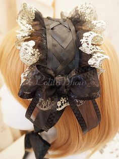 Being the most beautiful Lolita princess, Lolitashow Lolitashow Black Elegant Lolita Headdress couples with sweet styles and comfortable materials at affordable prices. Mori Girl Fashion, Lolita Fashion, Cute Fashion, Lolita Goth, Lolita Dress, Kawaii Wigs, Kawaii Hairstyles, Lolita Cosplay, Steampunk Clothing