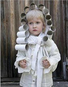 Fun Costume with wig made out of toilet paper rolls.