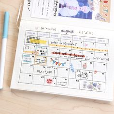 Bullet journal a really bare August calendar I made a few days ago hhhh I have nothing planned excep Bullet Journal School, Bullet Journal Notebook, Bullet Journal Spread, Bullet Journal Ideas Pages, Bullet Journal Layout, Bullet Journal Inspiration, Calendar Notebook, Calendar Journal, Calendar Ideas