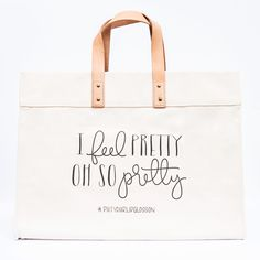 """Canvas Tote Bag - This tote is loved by our favorite gals who are makeup artists, hair stylists, fashion stylists and beauty gurus. Stylish and eye catching, this canvas tote makes carrying all of your beauty essentials a dream. Printed with """"I Feel Pretty, Oh So Pretty"""", who wouldn't want to carry this tote? Exclusively designed for Blane Totes … www.blanetotes.com"""