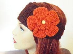 Adjustable Headband/Earwarmer with Flower  Dark by BeyondCrochet