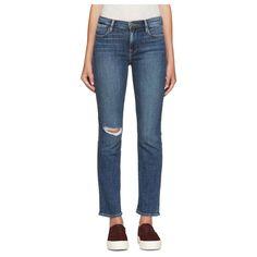 FRAME DENIM Le High Straight Ankle Slim Crop Jeans Ripped Blue Broadway 24 $230 #FrameDenim #CapriCroppedSlimSkinnyStraightLeg