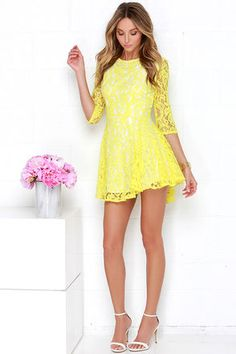 Yellow Dress - Lace Dress - Skater Dress - $89.00