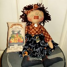 Raggedy Ann And Andy, Happy Fall, Gourds, Fall Decor, Primitive, Autumn, Dolls, Doll, Baby Dolls