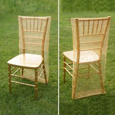 Gold Organza Chiavari Chair Covers | Chair Slipcovers with Satin Embroidery Chair Bows, Chair Sashes, Banquet Chair Covers, Table Covers, Outdoor Chairs, Outdoor Furniture Sets, Outdoor Decor, Adirondack Chairs, Gold Wedding Decorations