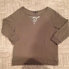 GREEN SPARKLE TOP Green sweatshirt like top with 3/4 sleeves and a sequined patch in front-super cozy and warm! Great condition-smoke free home fast shipping ! Chaus Sport Tops