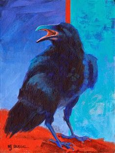 "Contemporary Artists of Colorado: Raven Bird Art Painting ""Violet"" by Colorado Artist Nancee Jean Busse"
