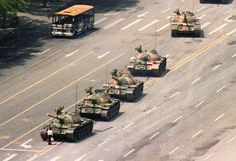 The unknown yet famous 'Tank Man', who stood in front of a column of Chinese tanks on June 5, 1989, during the #Tiananmen Square protests.#China