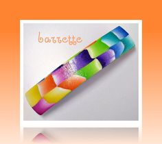 polymer clay Tangerine Rainbow Barrette...jewelry for your hair