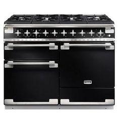 FALCON - ELS110DFGB _ Piano de cuisson ELISE 110 - Largeur 110 cm - 2 fours 69 L électrique multifonction dont 1 à chaleur tournante (énergie A) - Etagère Handyrack suspendue à la porte du four - Four grill barbecue avec plateau coulissant - Tiroir de rangement. Table de cuisson inox comprenant : 6 brûleurs gaz dont 2 triple-couronne 3,5 kW - Support pour wok - Porte-casserole en fonte - Coloris noir brillant finition nickel brossé avec plinthe et côtés inox. Sur commande uniquement.