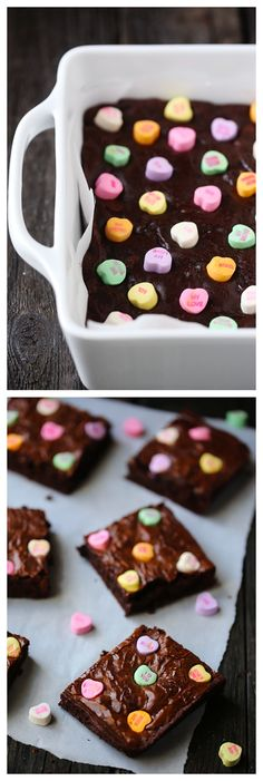 Easiest thing to do for Valentines Day, and yummy!!!Conversation Heart Brownies --Lissa