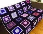 "Purple Throw Blanket Purple Crochet Blanket 50"" x 50"""