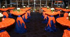 ... blue matte satin table linen wrapped with a royal blue matte satin