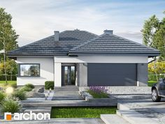gotowy projekt Dom w renklodach 6 House Exterior Color Schemes, House Paint Exterior, New House Plans, Dream House Plans, Concept Architecture, Architecture Design, Modern Front Yard, Pintura Exterior, Bungalow House Design