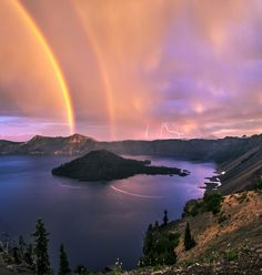 Crater Lake, Rainbows, and Lightning! by Jasman Mander on 500px