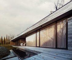 Проект одноэтажного деревянного дома в стиле минимализм в Польше