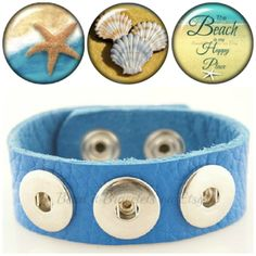 Life's a Beach Soft Leather Bracelet with 3 Snap Charms – Fits Noosa or Ginger Snaps Chunk Charms - pinned by pin4etsy.com