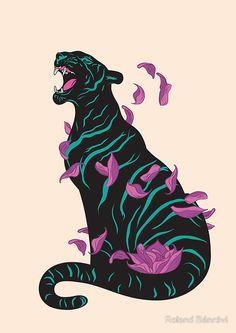 'Black tiger' Poster by Roland Bánrévi Art Inspo, Kunst Inspo, Art And Illustration, Art Pop, Art Tigre, Animal Drawings, Art Drawings, Tiger Poster, Poster Poster