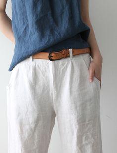 algodón - crudo - índigo - cinturón de cuero