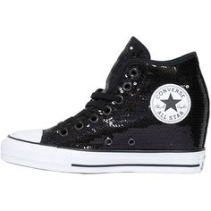 Converse Women 80mm All Star Sequined Wedged Sneakers (€140) ❤ liked on Polyvore featuring shoes, sneakers, rubber sole shoes, sneaker wedge shoes, wedge heeled shoes, wedge trainers and sequin shoes