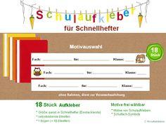Aufkleber & Etiketten - Schulaufkleber für Schnellhefter - ein Designerstück von kreativblume bei DaWanda