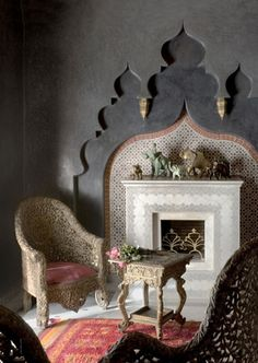 Chair and fireplace setting.