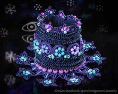 Ink Blue Turquoise Purple Crochet Bracelet Cuff. Crochet Beaded Bracelet…