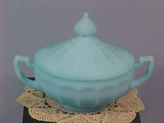 Vintage Baby Blue Marbled Satin Glass Lidded Powder Box Or Candy Jar
