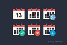 Flat Calendar Icon PSD Template