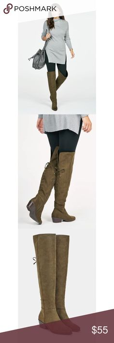 """NWT‼️Lace up over the need boots! NWT‼️The lace up over the knee boots are perfect edition to your closet. Trendy. Chic. Perfect for any look. Features a round distressed toe and lace up back detail. Height 23.5"""". Calf 16.5"""". Heel height 1.75"""". Man made sole. True to size. JustFab Shoes Heeled Boots"""