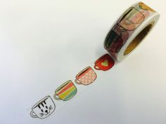 Coffee Mug Cups  Paper Washi Tape by PlayingWithColor2 on Etsy