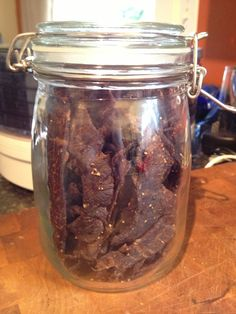 Beef Jerky Marinade   ⚫ 3 lbs lean meat sliced thin  ⚫ 1 tbsp salt  ⚫ 1 tsp garlic powder  ⚫ 1 tsp onion powder  ⚫ 1 tbsp course ground pepper  ⚫ 1/4 cup soy sauce  ⚫ 1/3 cup Worcestershire sauce  ⚫ 1/3 cup liquid smoke (I like Mesquite)    Combine and marinade 12 hours. Drain. Dehydrate.