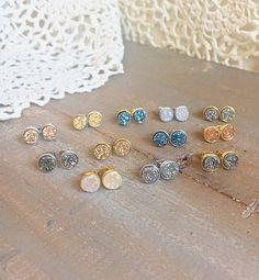 Tiny REAL genuine Druzy earrings studs 14 by elsajaeboutique