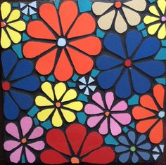 Mosaic Ideas, Mosaic Patterns, Mosaic Crafts, Mosaic Art, Flower Backgrounds, Yard Art, Stepping Stones, Stained Glass, Magnets