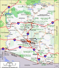 Road map of ArizonaFree maps of US Travel8US Arizona