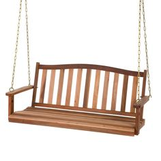 Spring and summer are all about memories, sweet smells, and warm breezes. Be sure to capture every moment on your front porch. This 5-Ft Curved Back Natural Wood Finish Porch Swing is an easy-to-insta