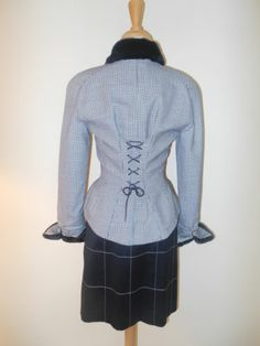 Vintage 1990s Mugler by Thierry Mugler B w Wool Skirt Suit Faux Fur Trim Sz 36 4 | eBay