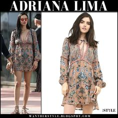 Adriana Lima in beige floral print mini dress, sandals and mirrored sunglasses