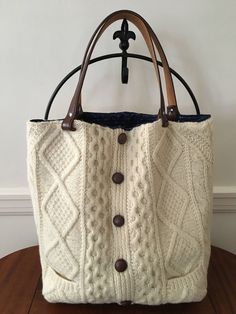 Irish Aran Knit Felted Wool Tote Bag by FilzWork on Etsy https://www.etsy.com/listing/524365091/irish-aran-knit-felted-wool-tote-bag