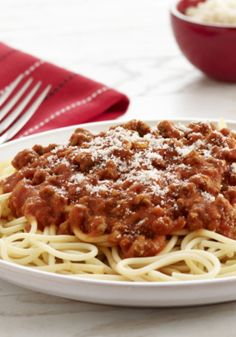 We love this Spaghetti and Meat Sauce! It's an easy dinner recipe that's ready to enjoy in just 25 minutes.