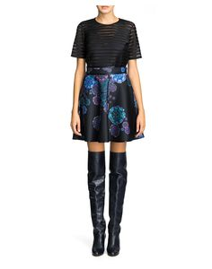 Cynthia Rowley - Duchess Satin Mesh Insert Crop Top