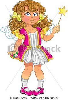 Vector Clipart of Pretty little girl in pink with magic wand ...
