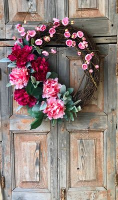 The Laurel raspberry and cream peony and pear blossom wreath/Farmhouse wreath/spring wreath for front door/easter wreath/lambs ear wreath by CrestedPerch on Etsy