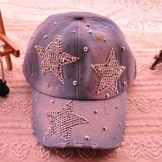 71b21e84aa0 Hot Sale Rhinestoned Star Pattern Adjustable Denim Baseball Cap For Women  Sun Hats For Women