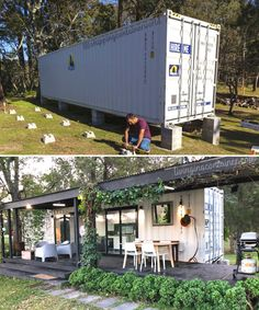 Building A Container Home, Container House Plans, Container House Design, Tiny House Design, Kombi Trailer, Shipping Container Home Designs, Shipping Containers, Wooden Facade, Tiny House Living
