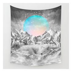 Put Your Thoughts To Sleep (peaceful Moon / Wolf S… Wall Tapestry ($39) ❤ liked on Polyvore featuring home, home decor, wall art, wall tapestries, anchor wall art, outside wall art, anchor home decor and black and white home decor