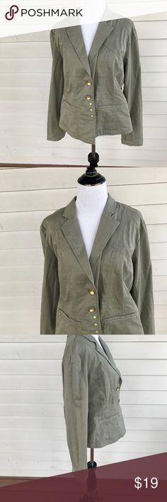 faba6925b7cd Chico s Sz 1 Olive Green Cotton Jacket Chico s Sz 1 Olive Green Cotton  Jacket Size 1